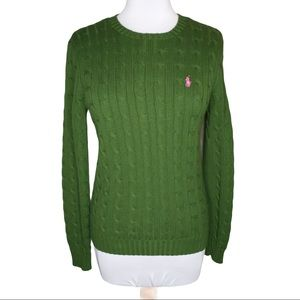 Ralph Lauren Blue Label Green Cable Knit Sweater